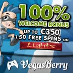 Vegas Berry Casino 50 free spins and €350 free bonus money