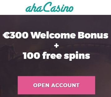 Aha Casino Online & Mobile - 100 free spins and 100% deposit bonus