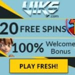 Viks Casino 20 free spins   100% bonus | PC, mobile & tablet