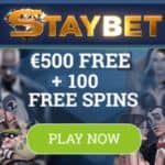 Staybet Casino | 100 free spins and €500 sign up bonus | Freebet!