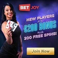 Betjoy Casino - 25 free spins NDB   200 gratis spins   €200 bonus