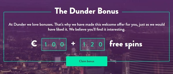 20 free spins on Book of Dead at Dunder.com
