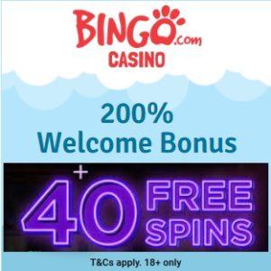 Bingo.com Casino   40 free spins and 200% free bonus   review