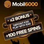 Mobil6000 Casino 100% bonus and 100 free spins on mobile games