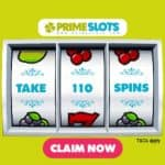 PrimeSlots Casino 110 free spins bonus on mobile pokies