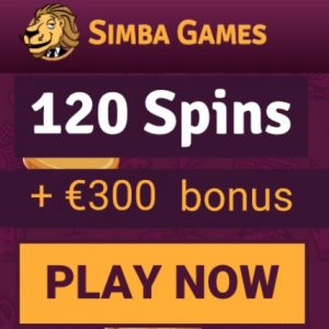Simba Games Casino - 130 free spins and €300 welcome bonus