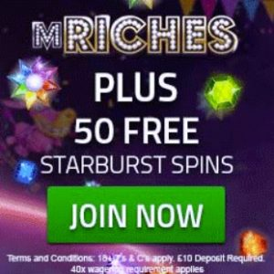 Mriches Casino 50 free spins and 350% bonus up to £500 bonus