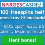 Norges Casino 100 free spins uten krav om innskudd og €250 bonus