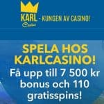 Karl Casino 110 free spins and 7500 kr gratis bonus for Sweden