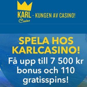 Karl Casino 110 free spins and 7500 kr gratis bonus for Sweden