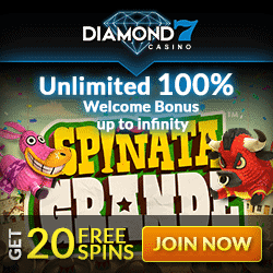 Diamond 7 Casino 20 free spins (no deposit required) and 100% unlimited free bonus