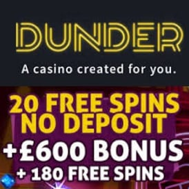 Dunder Casino 200 free spins and €600 welcome bonus