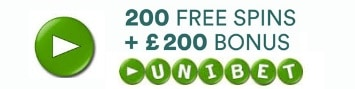 Unibet Casino 200 gratis spins and 200% free bonus