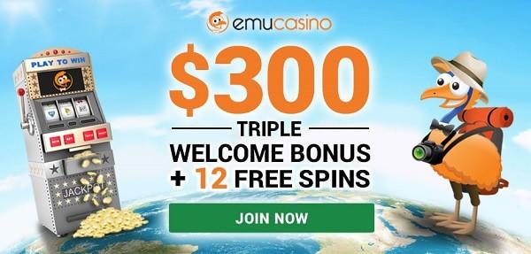 $300 welcome casino bonus + 12 free pokies spins