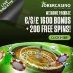 Joker Casino 200 free spins (10 FS ndb)   325% up to €1600 free bonus