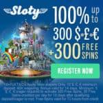 Sloty.com Online Casino – £1,500 gratis & 300 free spins bonus