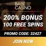 Babe Casino [review] 100 free spins   400% bonus   €/$3500 gratis