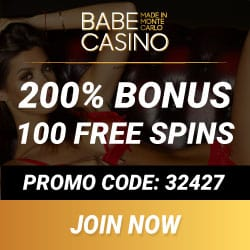 Babe Casino [review] 100 free spins   400% bonus   €/$3700 gratis