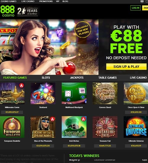 888 Casino 88 EUR free bonus no deposit required