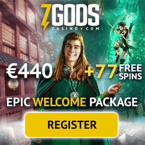 7 Gods Casino free bonus: €440 free chips and 77 gratis spins