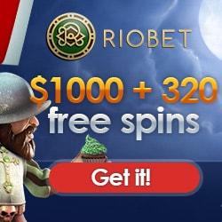 Riobet Casino 320 free spins and $/€/£1000 free bonus codes