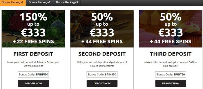 Spinatra Casino free bonus pack and free spins