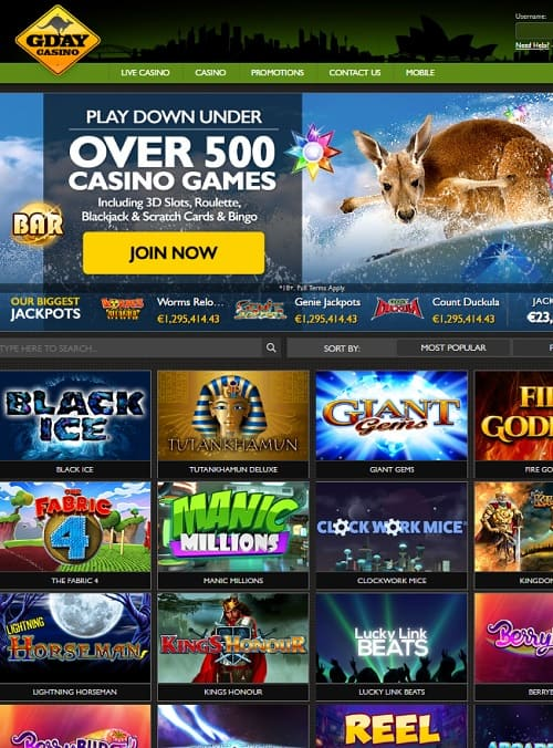 Gday Casino free play games