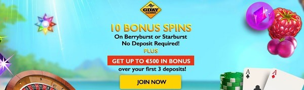 10 free spins on Starburst or Berryburst at GdayCasino.com