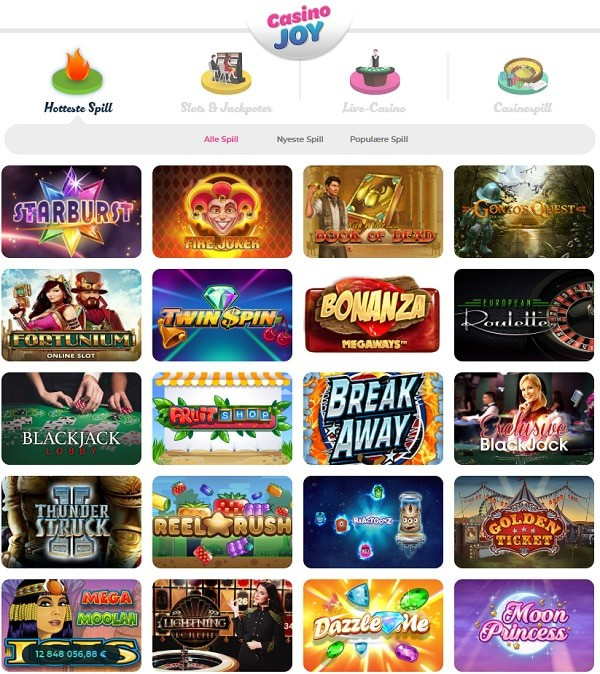 Casino Joy free spins on sign up