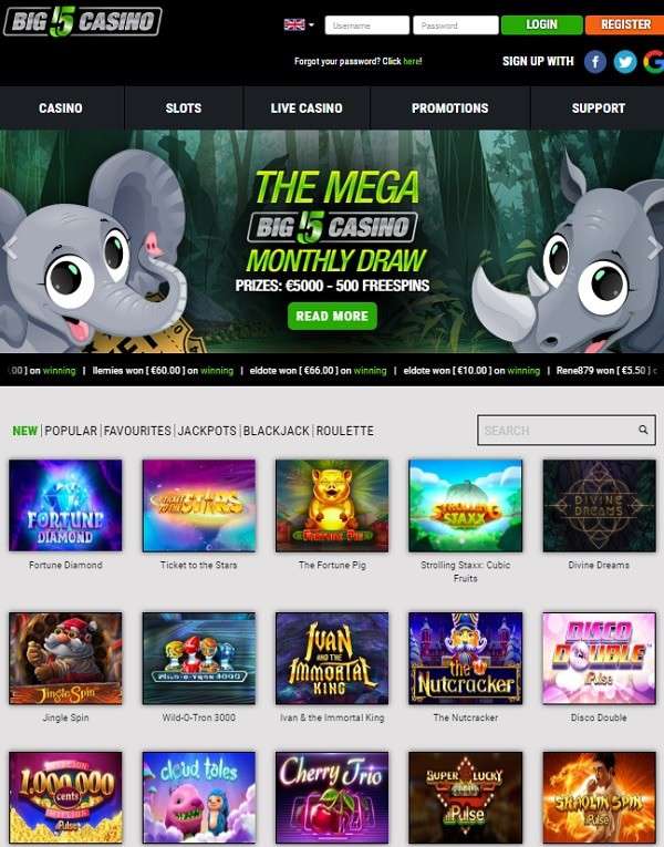 5 Free Spins on Sign-up (no deposit required)