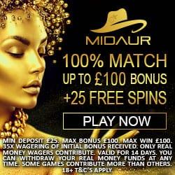 Midaur Casino 100% bonus and 25 free spins on Jungle Jim