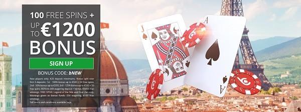 bCasino 1200 free bonus and 100 gratis spins