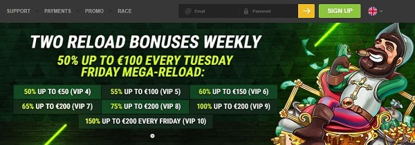 50% reload bonus, cashback, promotions, free spins