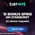 SlotNite Casino 15 free spins no deposit welcome bonus
