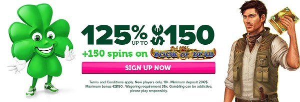 125% up to 150 EUR and 150 free spins on Book of Dead game