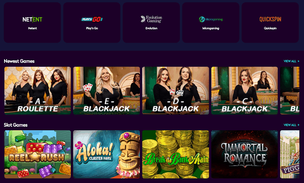 Live Casino, Slot Machines and Other Casino Games