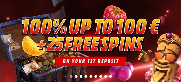 100% bonus and 25 gratis spins