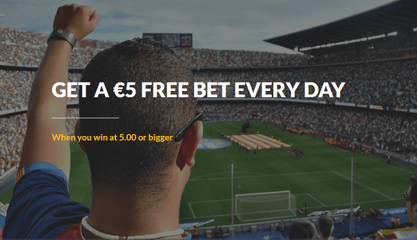 Get 5 EUR free bet every day!
