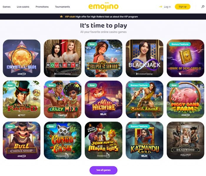 Test your luck on casino games!