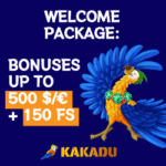 Kakadu Casino 150 Free Spins and €500 Welcome Bonus